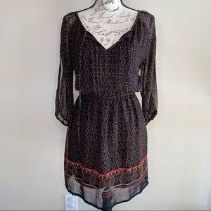 Feathers sheer overlay boho dress